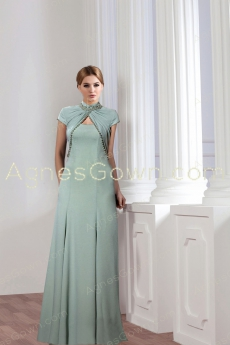 Charming High Neckline Sage Colored Mother Of The Bride Dress