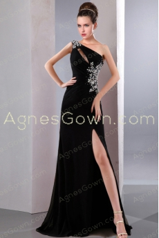 Chic Front Slit One Shoulder Black Evening Dress With Crystals