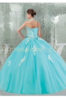Cute Aqua Halter Ball Gown Quince Dress With Lace Appliques