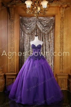 Exquisite Violet Purple Quinceanera Dress With Lace Appliques