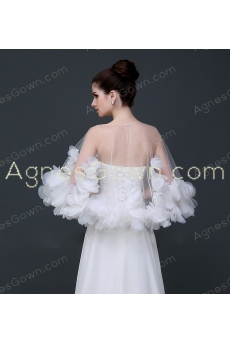 Grecian Short Wedding Cape With 3d Flowers