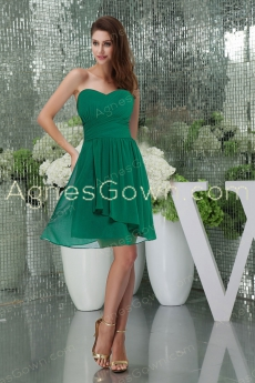 Hunter Green Knee Length Prom Dress