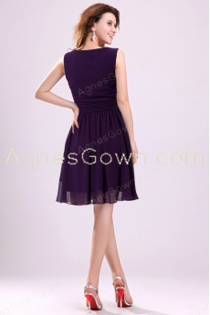 Knee Length Purple Chiffon Bridesmaid Dress
