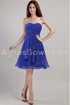 Knee Length Royal Blue Chiffon Bridesmaid Dress