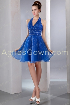 Modern Top Halter Royal Blue Organza Mini Length Sweet 16 Dress