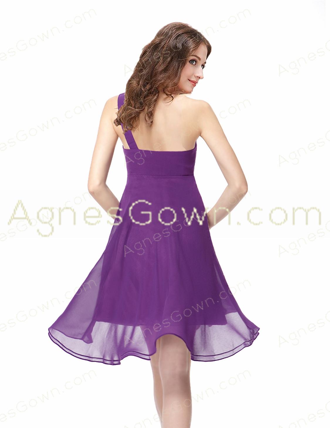 2016 Cute One Shoulder Empire Short Bridesmaid Dress For Maternity Women