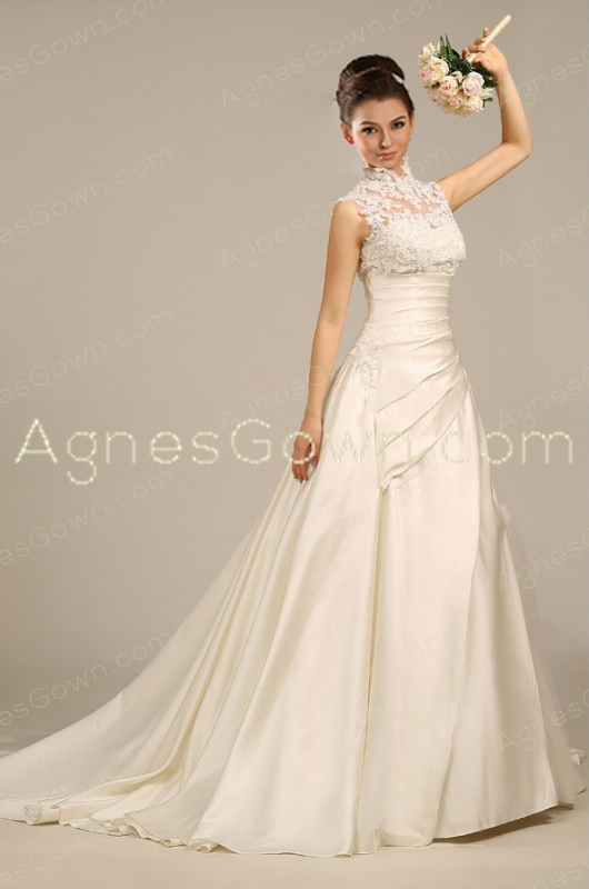 2016 Satin Wedding Dress With High Neckline Lace Bolero