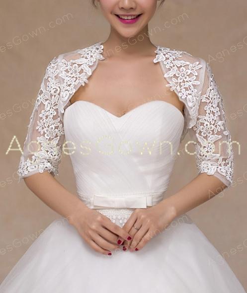 3/4 Sleeves Lace Wedding Jacket