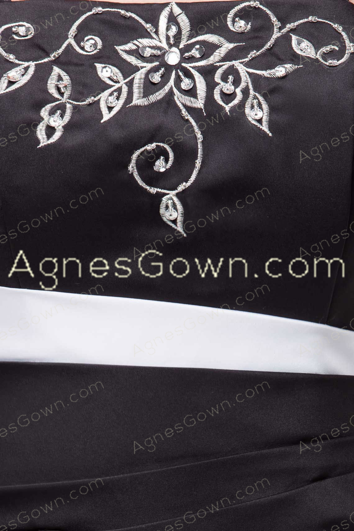 Black And White Embroidery Long Prom Dress