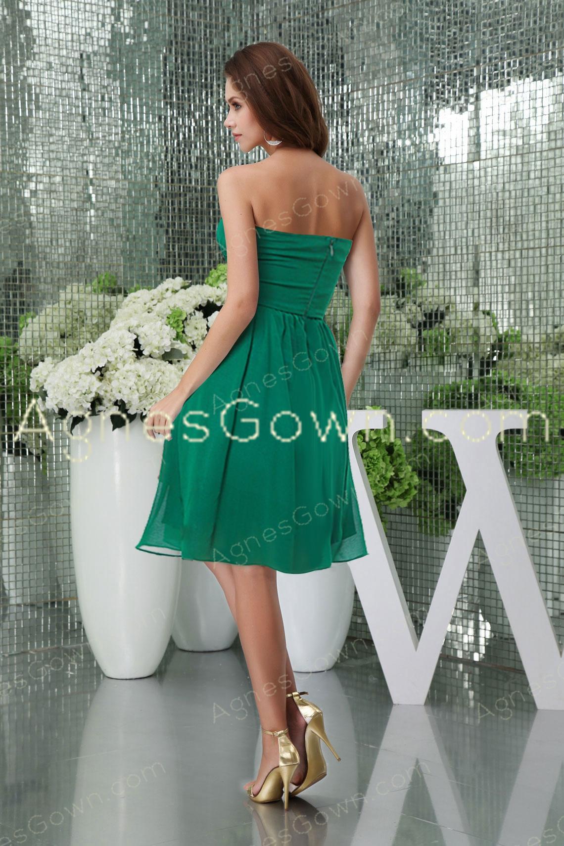 Hunter Green Knee Length Prom Dress