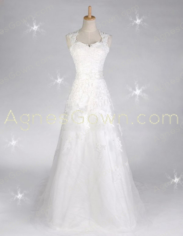Keyhole Back Grecian Lace Wedding Dress With Butterfly Bow