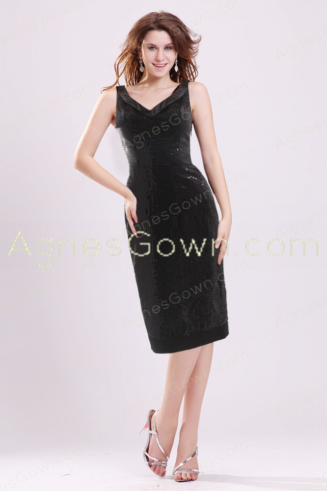 Knee Length Black Sparkled Wedding Guest Dress