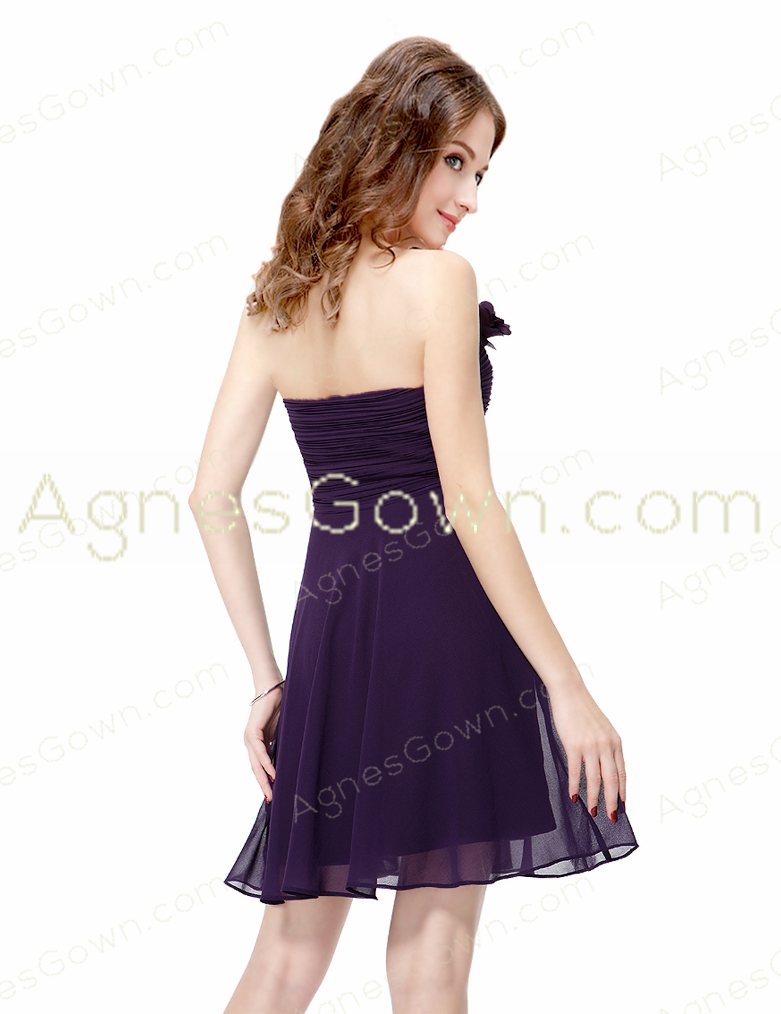 Mini Length Purple Homecoming Dress