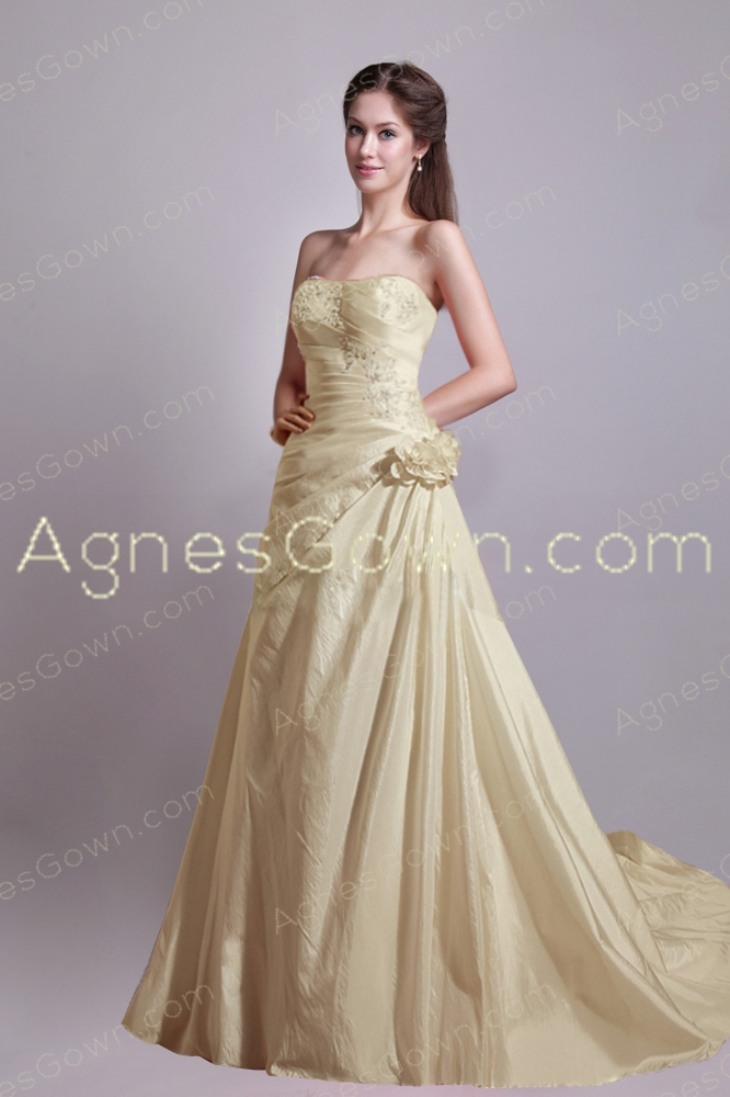 Retro 2016 Champagne Taffeta Wedding Dress