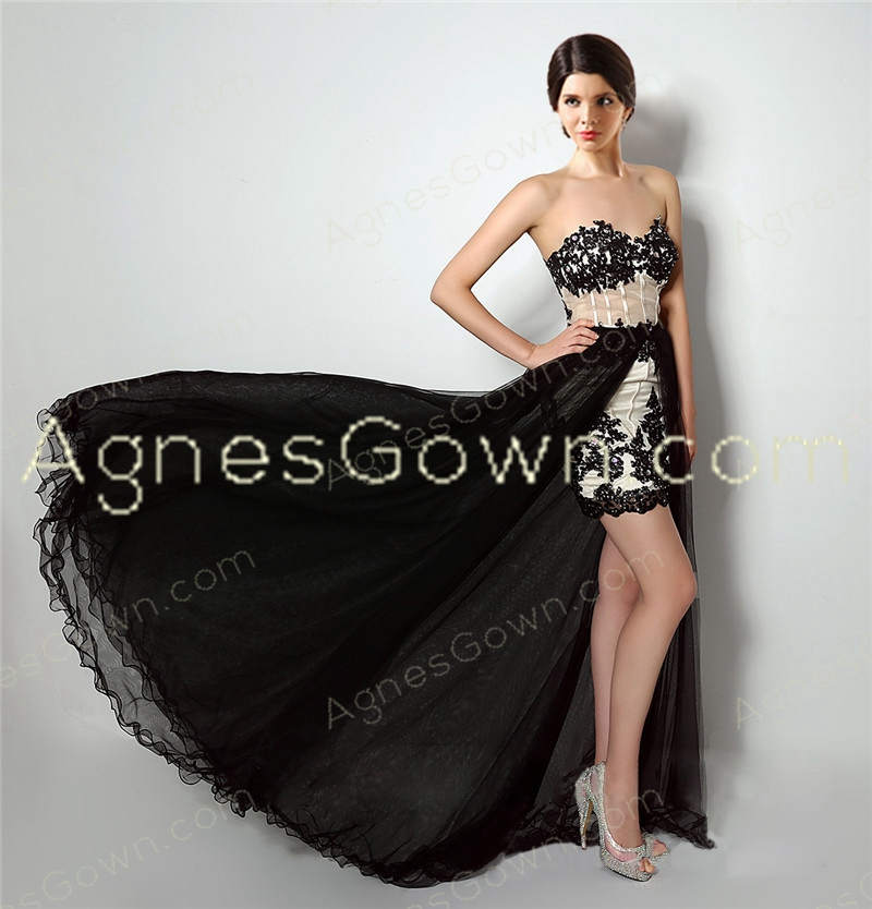 Stylish 2016 Black And Champagne Prom Dress With Detachable Train