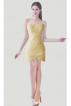 A-line Mini Length Yellow Cocktail Dress With Ruched Bodice