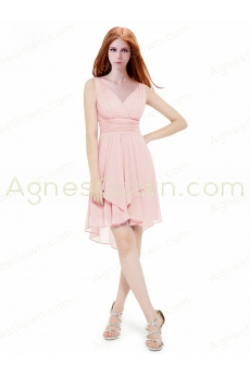 Asymmetrical Hem Pink Prom Dress V-neckline