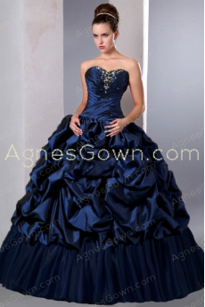 Ball Gown Taffeta Dark Navy Quinceanera Dress