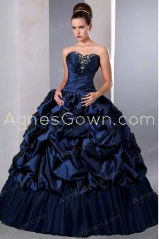 Ball Gown Taffeta Dark Navy Quinceanera Dress