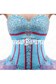 Basque Waist Blue And Pink Colorful Quinceanera Dress