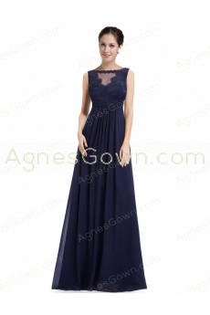 Bateau Neckline Dark Navy Prom Dress With Lace