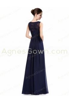 Bateau Neckline Dark Navy Prom Dress With Lace