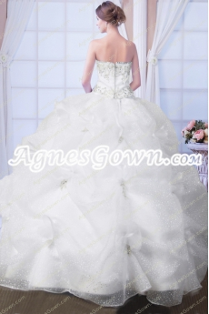 Beaded White Quinceanera Dress With Sparkled Skirt