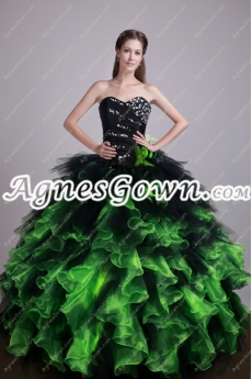 Beautiful Black And Emerald Green Quinceanera Dress