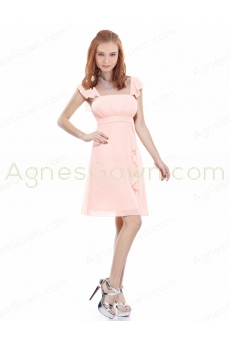Cap Sleeves Short Length Pink Graduation Dress