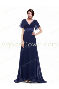 Cap Sleeves V-Neckline Navy Blue Formal Evening Dress