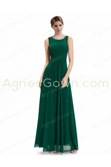 Charming Scoop Neckline Green Chiffon Mother Of The Bride Dress