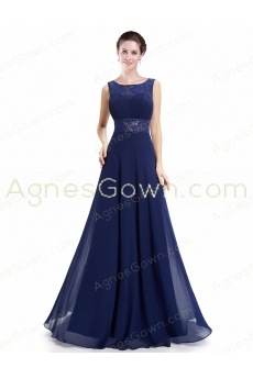 Charming Square Neckline Dark Royal Blue Evening Dress Backless