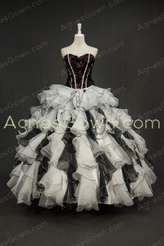 Chic Black And White 2 Pieces Quinceanera Masquerade Ball Gown