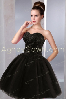 Chic Black Ball Gown Short Damas Dress Corset Back
