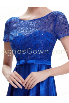 Chic Royal Blue Prom Gown With Sequined Bodice
