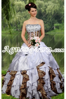 Classy White And Leopard Ball Gown Quinceanera Dress