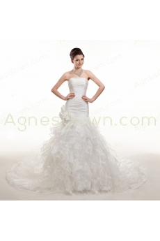 Dropped Waist Organza Wedding Dress 2016 Corset Back