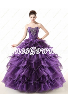Eggplant Organza Ball Gown Sweet 15 Dress