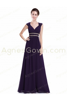 Eggplant Purple Long Prom Dress Keyhole Back