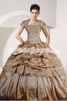 Exclusive Champagne Taffeta Ball Gown Vestidos de Quinceañera Dress