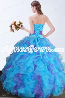 Exclusive Colorful Blue And Purple Princess Quinceanera Dress