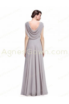 Graceful Scoop Neckline Silver Gray Chiffon Prom Gown Dress