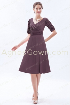 Half Sleeves Knee Length Brown Mother Of The Groom Dress