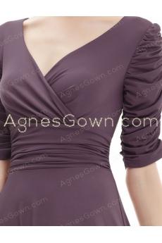 Half Sleeves Knee Length Brown Mother Of The Groom Dress