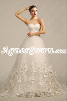 Impressive Princess Wedding Dress With Handmade Flowers