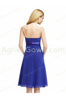 Knee Length Royal Blue Chiffon Bridesmaid Dress With Sash