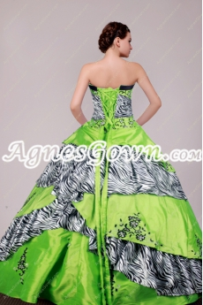 Lime Green And Zebra Ball Gown Quinceanera Dress