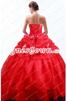 Lovely Red Ball Gown Quince Dress Corset Back