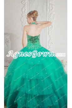 Luxury Jade Green Quinceanera Dress With Crystals