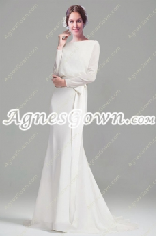 Noble Bateau Neckline Long Sleeves Bohemian Wedding Dress